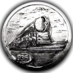 TOM MAHER HOBO NICKEL - NYC HUDSON LOCOMOTIVE -1936 BUFFALO NICKEL Hobo Nickel, Nyc, Locomotive, Paper Cutting, Folk Art, Buffalo, Cactus, Coins, Train