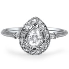 1930's Art Deco style - Ashby ring - style no BTR94712 - pear shaped center w/19 rose cut dia accents - $3830 from BrilliantEarth.com