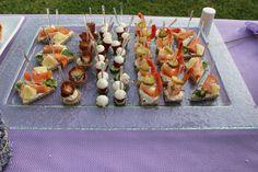 Al Baba Sweets Lavender themed reception  #shrimp #canape #salmon #canape #bresaola #canape #tomato #bites