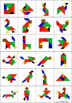 Tangram to print in color with 8 animal models - Anna Giné Roda - - Tangram à imprimer en couleur avec 8 modèles d'animaux Tangram to print in color with 8 models of animals -Model a inprimer Montessori Activities, Toddler Activities, Preschool Activities, Montessori Materials, Fun Math, Math Games, Tangram Printable, Tangram Puzzles, Material Didático