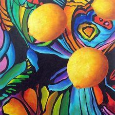 Psychedelic Lemons, Colorful Still Life Fruit Painting 20x20 by Marina Petro -- Marina Petro
