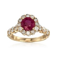 C. 1980 Vintage 1.05 Carat Ruby and 1.00 ct. t.w. Diamond Ring in 14kt Yellow Gold. Size 5.25