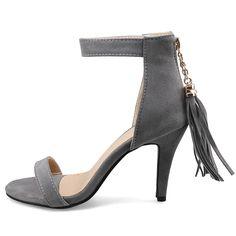 Shoespie Tasseled Back Zipped Heel Sandals