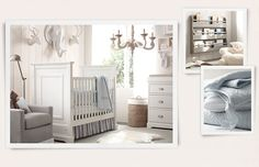 <3 gray and baby blue nursery from restoration hardware <3except for the weird animals on the wall...