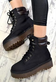 IGGY Flat Grip Martin Style Lace Up Ankle Boots in BLACK
