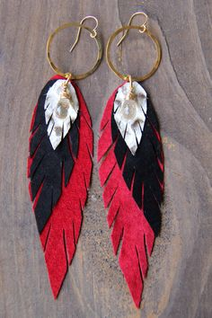 Large Pluma Earrings with Red & Black Suede