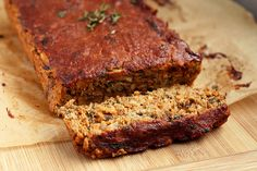 "Gluten-free + Vegan Lentil ""Meat"" Loaf w/ spicy vegan BBQ sauce"