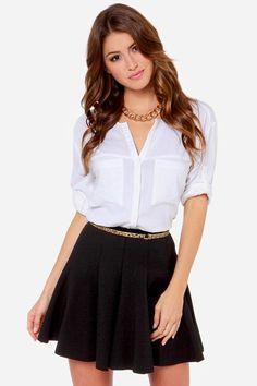 Flare Weather Friend Flared Black Skirt at LuLus.com!