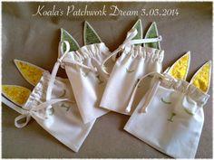Koala's Patchwork Dream: Króliki - woreczki :) prezent na Wielkanoc... woreczki na cukierki...