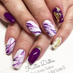 Purple marble and gold nails - Nails By Katie Dutra