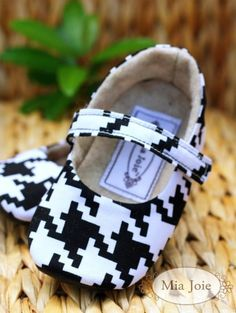 black and white houndstooth Baby / Toddler Shoes