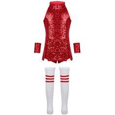 65451c0a5746c Agoky Vêtements de Sport Enfant Fille Robe de Danse Jazz Hip Hop  Cheerleaders Performance Costume de Danse Moderne Tenue Noël Carnaval Fête  Survêtement ...