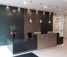 Miles and Lincoln - the UK& leading designer of laser cut screens for decorative interior panels, external architectural cladding, balustrades and ceilings Commercial Office Design, Dental Office Design, Office Interior Design, Office Interiors, Healthcare Design, Office Designs, Modern Interior, Interior Work, Corporate Interiors