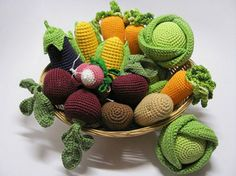 Knitted and Crocheted Accessories, Cup Heaters and Handmade Table Decorations : This basket is overflowing with Crochet Amigurumi Goodness! Crochet Fruit, Crochet Food, Crochet Kitchen, Crochet For Kids, Diy Crochet, Crochet Crafts, Yarn Crafts, Crochet Flowers, Crochet Projects