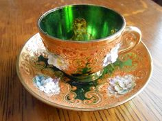 LOVELY  BOHEMIAN-MOSER EMERALD GREEN GILDED RAISED FLOWERS DEMITASSE CUP/ SAUCER picclick.com
