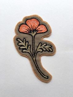 The peach Desert Poppy is a hand embroidered sew-on patch and a blooming emblem of the desert southwest. With bold stitching and saturated color, this flower patch packs a punch for your denim. Details: Sew-on patch handmade in Philadelphia, USA Canvas on wool blend felt backing & cotton embroidery thread Approx. 4x 2.25 inches Made to order just for you ⎯⎯ please allow 4-6 weeks before shipment  Made to orderinfo:Each patch is embroidered by hand one at a time. Because of a high volum...