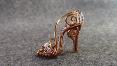 Tutorial wire mini shoe pendant - Cinderella shoe - YouTube