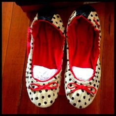 Corso como ballasox real fur polka dot elke flats Brand new from Nordstrom Corso Como Elke genuine calf fur ballet flat shoes. White and black polka dot with red accents. Really soft. Sold out online! Received as a gift but not my style. Made in Brazil. Comes with original box and original small red corso como shoe tote bag. Size 8. Corso Como Shoes Flats & Loafers