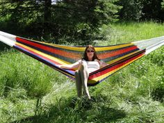 Mayan Double Handmade Cotton Hammock with Universal Heavy Duty Steel Stand (Hot Colors) Hammock Cover, Hammock Bed, Hammocks, Camping Hammock, Mayan Hammock, Under The Rain, Double Hammock, Log Furniture, To Color