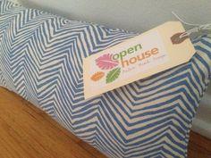 Blue zig zag lumbar pillow by OpenHouseBeachDesign on Etsy, $120.00