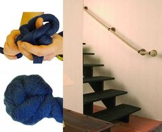 Tying an end knot for banister rope, and stair rope in place on staircase