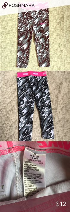 NIKE Dri-Fit Girls Black White & Gray Leggings Adorable little workout leggings. Perfect for little gymnastic classes or a day of play. Worn once. EUC 💗 Nike Bottoms Leggings