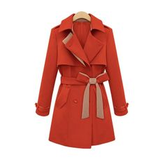Long Pattern Belt Decorate Trench Coat For Women