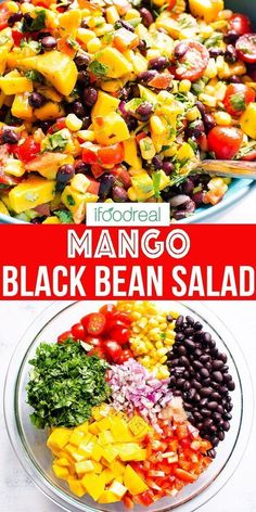 Mar 2020 - Black Bean Salad with corn, mango, tomatoes, bell pepper and zesty lime comes together in 15 minutes. Fresh and healthy salad rich in protein and fiber that everyone will absolutely love. It's a win-win! Healthy Summer Recipes, Summer Salad Recipes, Healthy Family Meals, Healthy Salad Recipes, Summer Salads, Summer Bean Recipe, Healthy Black Bean Recipes, Fresh Salad Recipes, Family Recipes