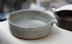 Pottery Baking Dish -  White Speckle - Casserole or Jewelry Dish