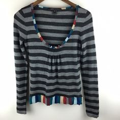 """[Marc Jacobs] Striped Wool Sweater Small Fitted long sleeve sweater. Contrasting stripes. Low scoop neck with smocking at center. Elastic in waistband.   Color: Gray & Multi Fabric: 100% Woolaine  Size: Small Bust: 15"""" Length: 22.5"""" Condition: EUC. No pilling or flaws. Sometimes elastic gets twisted in waistband.  No Trades! No PayPal! Marc Jacobs Sweaters Crew & Scoop Necks"""