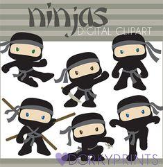 Ninja Digital Clip Art Set Personal and Commercial by DorkyPrints, $3.50