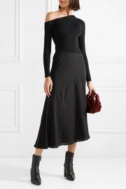 TheoryPaneled ribbed-knit and silk-georgette midi dress