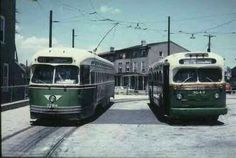 SEPTA  PCC  trolley  and GMC  bus