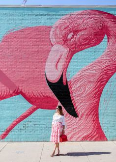 Pink flamingo mural in Chicago, Illinois // Style Charade