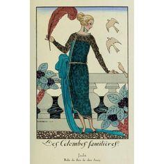 La Guirlande 1919 Les Colombes Familieres Canvas Art - George Barbier (18 x 24)