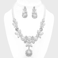 Bridal Wedding Evening Floral Crystal Accented White Pearl Necklace And Earring. Get the lowest price on Bridal Wedding Evening Floral Crystal Accented White Pearl Necklace And Earring and other fabulous designer clothing and accessories! Shop Tradesy now