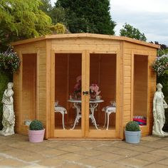 Barclay Shiplap Timber Summerhouse with Assembly Service - B&Q for all your home and garden supplies and advice on all the latest DIY trends Shiplap Cladding, Exterior Cladding, Wooden Summer House, Corner Summer House, Summer Houses, Outdoor Spaces, Outdoor Decor, Artists