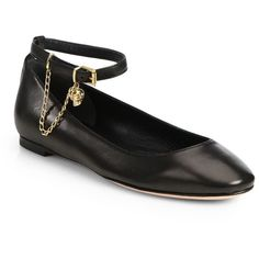 Alexander McQueen Leather Ankle-Strap Ballet Flats ($480) ❤ liked on Polyvore featuring shoes, flats, ballerinas, sapatos, apparel & accessories, black, black ballet shoes, leather ballet flats, ballerina pumps and flat shoes