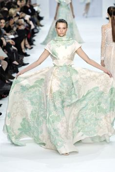 Elie Saab Fall 2012 Haute Couture.   Look for me walking down the street with a dress like this opened in the same way.