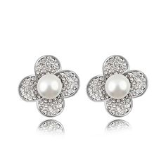 Gorgeous Simulated Pearl Stud Earrings With Shiny Rhinestone$20.00 ,Style No.: LJE00018