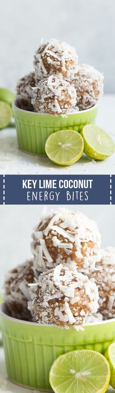 Key Lime Coconut Energy Bites are made with five tasty ingredients and come together in less than 5 minutes! They are vegan, gluten free and paleo-friendly.