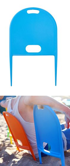 Instant beach chair! @dinahcopple we need these for the annual Monterey trip!! Way easier to throw in the vehicles! :)