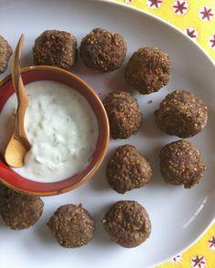 Kibbeh Meatballs with Spiced Yogurt Sauce // A Cedar Spoon