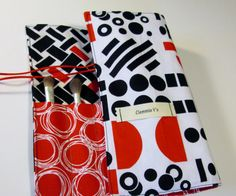 Abstract/Geometric Design Makeup Brush Roll, Travel Brush Roll, Artist Brush Storage, Makeup Essentials, Toiletry Storage