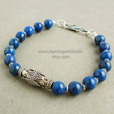 Denim Lapis Mens Bracelet, Bali Artisan Sterling Silver, Gemstone, Blue Lapis Jewelry for Men, Guys, Him, $78.95 by mamisgemstudio