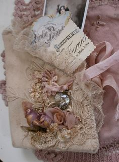 Fripperies:  Roses, lace, and ribbon.