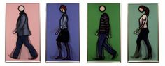 Julian Opie / found on www.kunzt.gallery / Walking series - set of 4, 2010 / Mixed medium