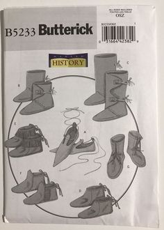 5233 UNCUT Butterick Sewing Pattern Making History Historical Footwear Cosplay #Butterick