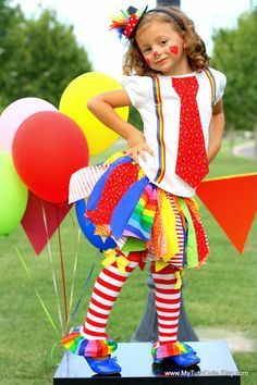 Rainbow Clown Tutu Costume including Fabric Scraps by mytutucute