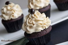 Mocha Cupcakes with Baileys Buttercream Frosting
